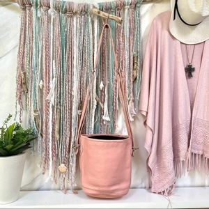 🤍POWDER baby PINK-Roots vintage BOHO sweet bucket